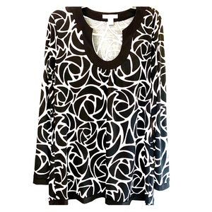 WHBM black and white long sleeve top Sz XL